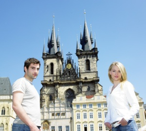 couple in Prague, Tynsky church, Old Town Square, Czech Republic
