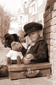 vintage boy in sepia