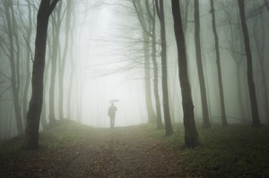 man with umbrella walking to light in a misty forest